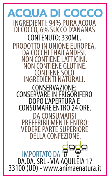 etichetta puro succo d'ananas 330ml