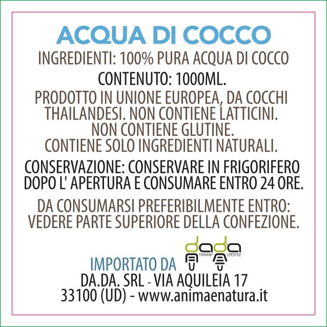etichetta acqua di cocco 1000ml