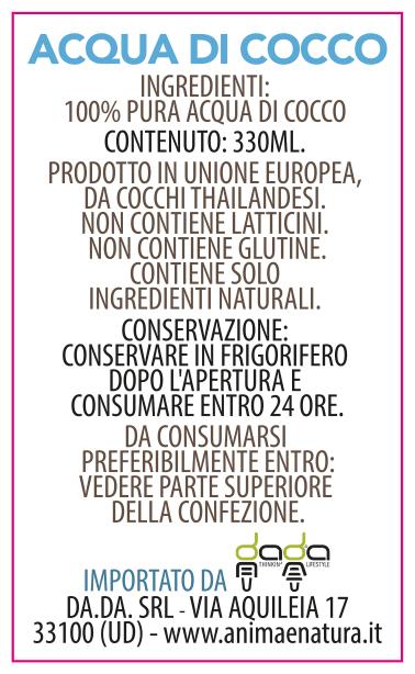 etichetta acqua di cocco 330ml