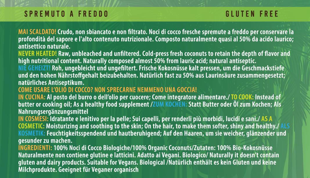olio di cocco dada etichetta